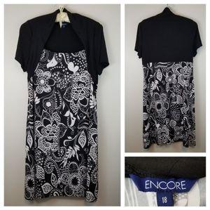 Encore 18 Black White Floral Cap Sleeve Midi Dress